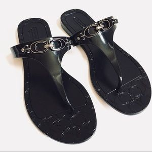 Coach black thong sandals